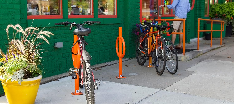 bike rack by front door