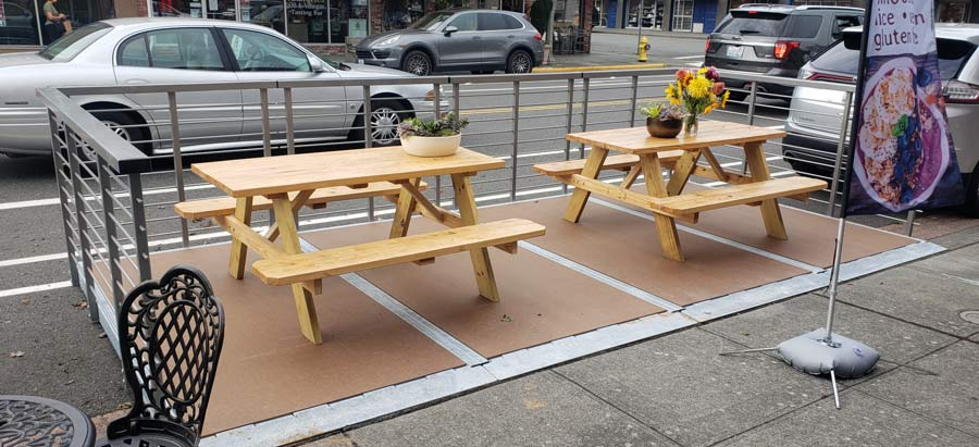 Dero Parklet with On-Street Bike Corral and Repair Station